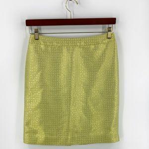 J Crew Pencil Skirt Sz 6 Chartreuse Green Metallic